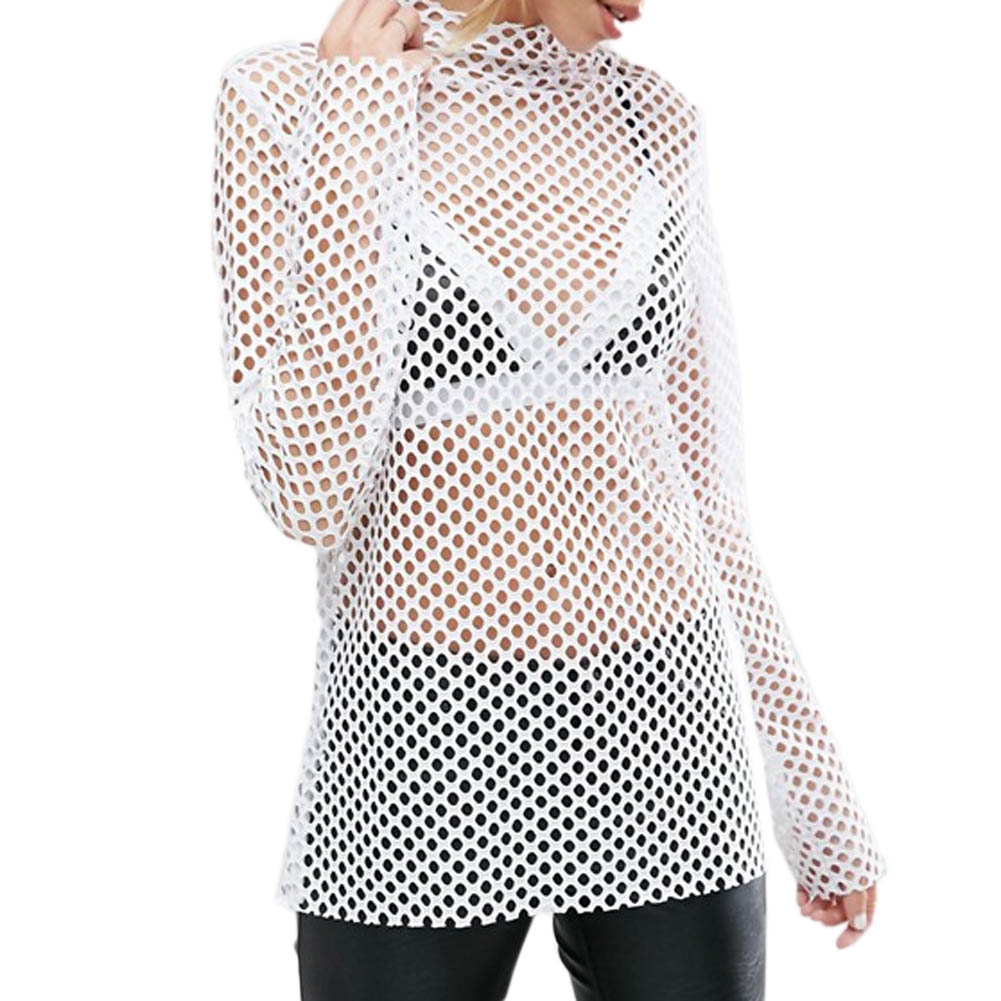 Women Girl Summer Hollow Out Short Sleeve Grid Tops T Shirt White Crochet Lace Shirts