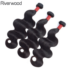 Riverwood Brazilian Body Wave Bundles Natural Color 100% Human Hair Weave Bundles10-26inch 3/4PC Can Be Dyed Remy Hair Extension(China)