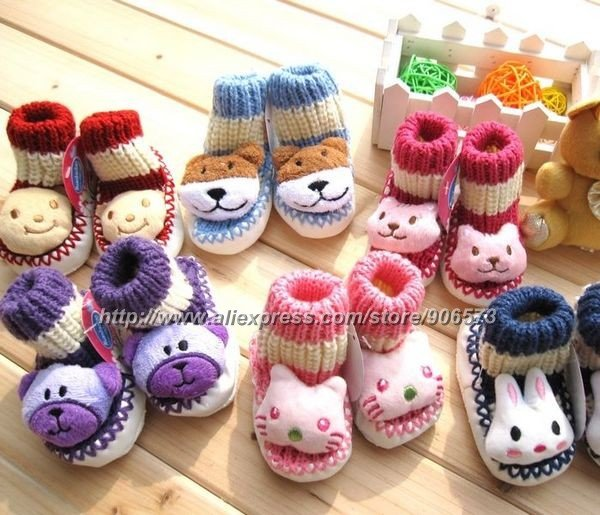 Free Shipping ] 12pairs/lot cartoon animal knitting wool baby ...