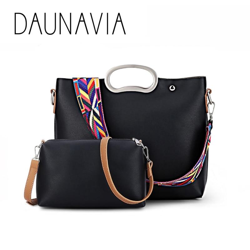 DAUNAVIA 2017 New Fashion Women bag PU leather all-match shoulder bag exquisite color shoulder strap