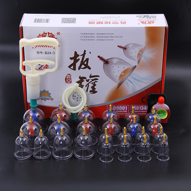 24cups Chinese Magnetic Massage Jars Cupping Suction Cup Acupuncture Massager Therapy Thicken Massage Vacuum Cans Vacuum Cupping 12pcs cups 6pcs magnetic needle extension tube pump chinese modern vacuum healthy cupping set massage therapy suction apparatus