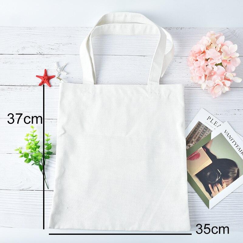 Ecofriendly White Canvas Shopping Bags Casual Tote Shoulder Versatile Sack Summer Holiday Beach DIY Painting Handbag