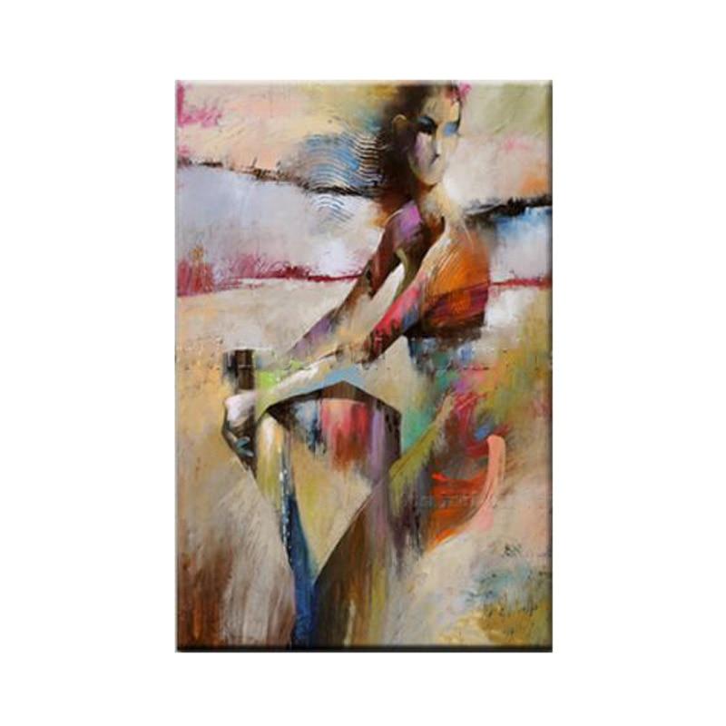 Dipinto a mano arte astratta pittura di colore nudo dipinto ad olio su tela donna nuda soggiorno Fine Art home decorazione