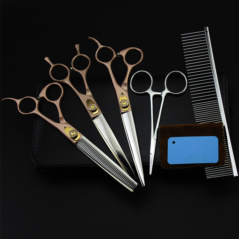 Customize 5 kit Japan 440c gold 7 inch Pet dog grooming hair cutting scissors set thinning shears barber hairdressing scissors customize 6 kit japan 440c 7 inch purple pet dog grooming hair scissors thinning shears pet cutting barber hairdressing scissors