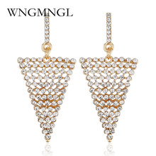 WNGMNGL 2018 Female Drop Earrings New Elegant Gold Silver Color Triangle Dangle For Women Fashion Charm Pendant Jewelry