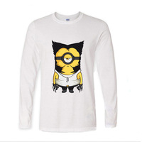 2017 varios colores algodón divertido Wolve Minions diseño divertido manga larga Camiseta hombres