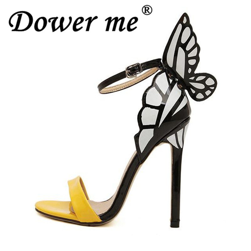 Rome Style Patch Ankle Strap Bowtie Sandals 2018 Brand Sexy Thin High Heels Sandals Party Summer Shoes Women Sandals size 35 40