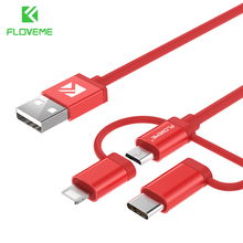 FLOVEME Multiple 3 in 1 Cable For iPhone For Samsung Huawei Xiaomi Micro USB C Type C Cable Type-C Date Sync Cord For Charging