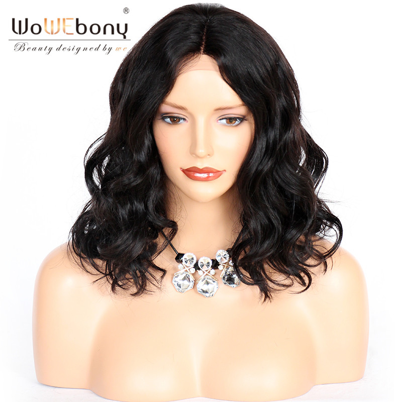 WoWEbony 100% Human Hair Lace Wigs Body Wave Bob Style Indian Remy Lace Front Wigs With Baby Hair Middle Part