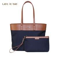Let It Be Women S Fashion Oxford Cloth Big Handbag Laptop Handbag Casual Tote Bag Shopping