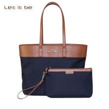 Let It Be Women's Fashion Oxford Cloth Big Handbag Laptop Handbag Casual Tote Bag Shopping Bag with clutch – 3 Colors for Choice