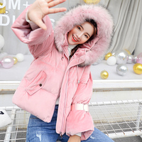 Long Sleeve Diamonds Artificial Fleece Hooded Short Winter Coats Women parka Autumn outwear Tops Jackets 2018 Velvet