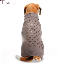 Transer Winter Dog Clothes Newly Design Golden Sequins Dot Pattern Gray Pet Dog Sweater Sleeveless Turtleneck Warm Outfit 71103(China)
