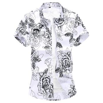 Plus size M-7XL Summer Shirt Men Flower Mens Shirts Roses Print Cotton Blouse clothing Fashion