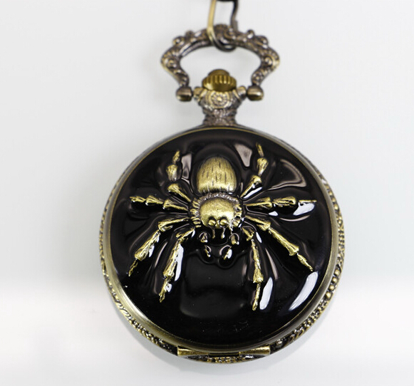 New Arrive Fashion High Quality Japan Movement Big Size Black Spider Pocket Watch With Chain