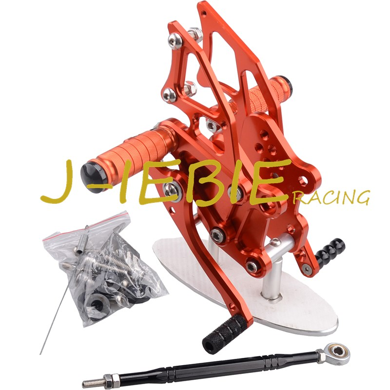CNC Racing Rearset Adjustable Rear Sets Foot pegs Fit For Yamaha YZF R3 R25 2014 2015 ORANGE cnc aluminum motorcycle accessories rearset base foot pegs rear for yamaha yamaha yzf r3 yfz r3 mt 03 mt03 mt 03 2015 2016