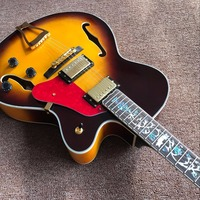 Chinese factory OEM hollow body JAZZ electric guitar yellow maple top Jazz guitar Factory direct sales, double F hole