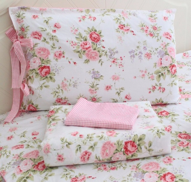 FADFAY Cotton Rose Floral Print Bedding Sheet Sets 4 Piece California King  Size Shabby Rose