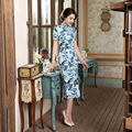 Vintage Elegant Women Long Cheongsam Dress Linen Cheongsams Long Qipao China Chinese Traditional Dress Clothes for Women