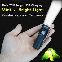 Mini Flashlight USB Charging EDC Ultra Small Hand Light Portable 16340 Miniature Pocket Side By Flashlight
