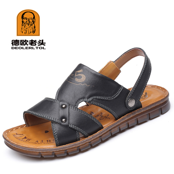 2019 Men's Genuine Leather Sandals Soft Leather Anti-Slip Summer Sandals Hand made Man Casual Sandal Shoes