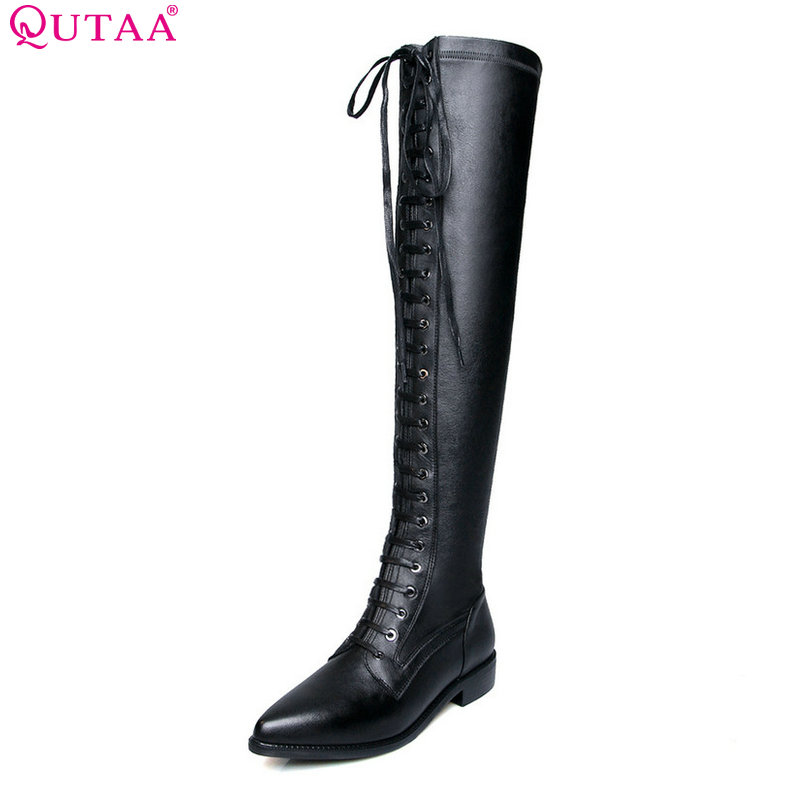 QUTAA 2019 Women Knee High Boots Fashion Square Heel Pointed Toe All Match Cow Leather+PU Women Motorcycle Boots Big Size 34-42 qutaa 2018 black women ankle boots square high heel pointed toe genuine leather fashion zipper women motorcycle boots size 34 42