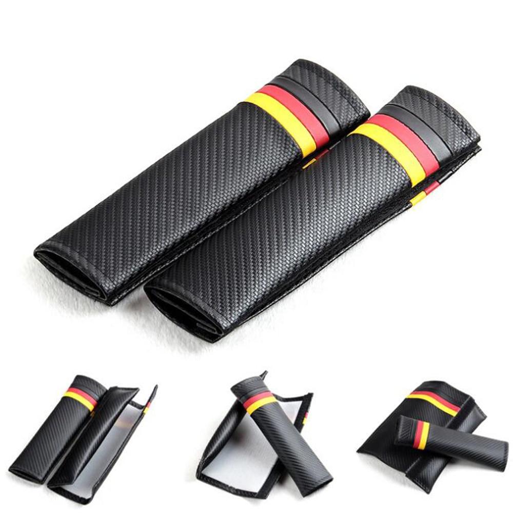 Car Seat Belts Covers Padding German flag Carbon Fiber Leather Belt Shoulder Sleeve For VW Skoda Polo Bmw Audi Golf GTI MK5
