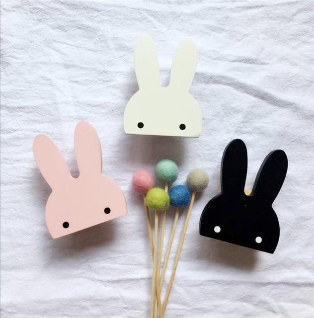 1pc Rabbit Shape Wall Hooks Decorative Wood Hook For Key Handbag Coat Hanger Kids Bedroom