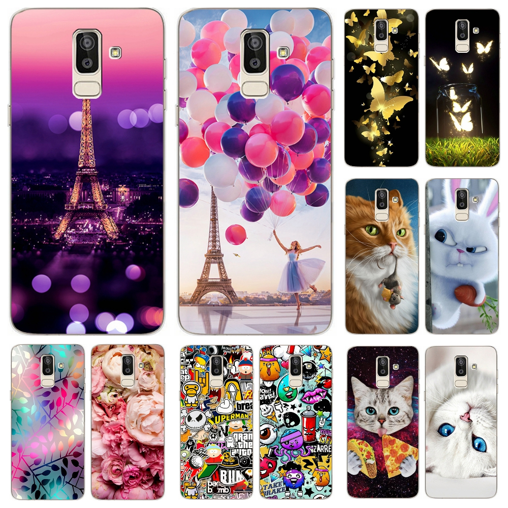 new arrival 0089c a4c14 US $0.77 27% OFF|For Samsung Galaxy J8 2018 Case Soft Silicone Priting  Pattern Phone Cover Cases for Samsung J 8 2018 810 F SM J810F Fundas  Coque-in ...