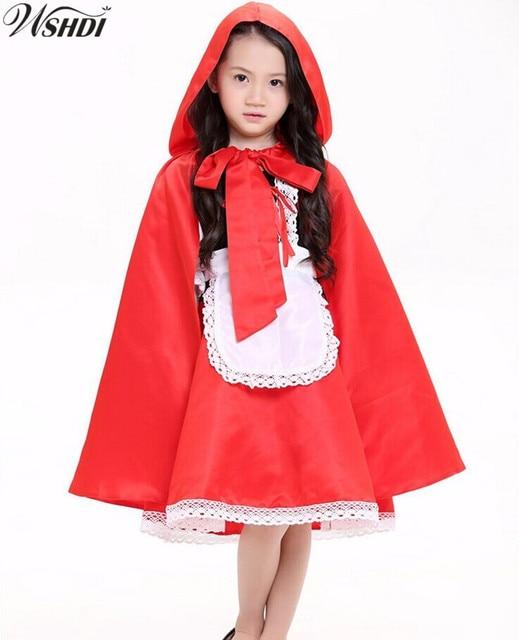87693858700 US $18.62 15% OFF| 2018 Children girl Little Red Riding Hood Costume For  Kid Halloween Fairy Tale Princess Cosplay Fancy Dress + Cloak-in Girls ...