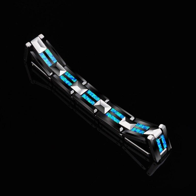 2018 novo design de alta qualidade 10mm largura tungstênio carboneto pulseiras com luxo natural opala homem luxo corrente jóias 20 comprimento - 2