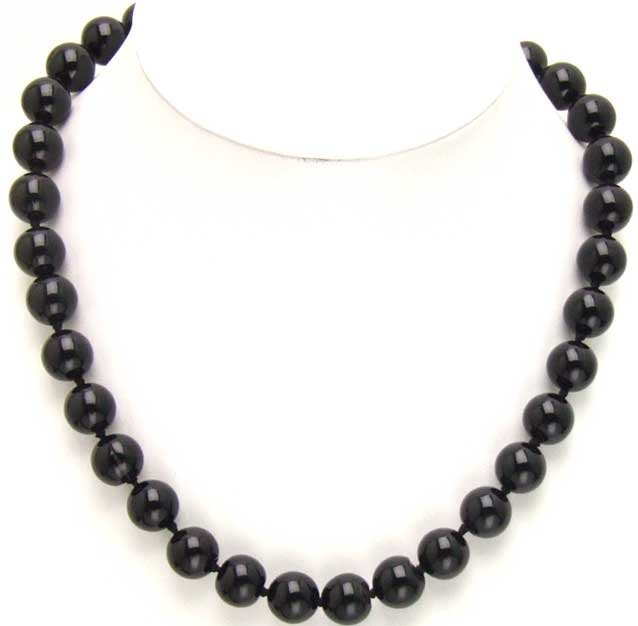 SALE High luster 12mm Black round agate 18 inch necklace-5276 wholesale/retail Free shipping