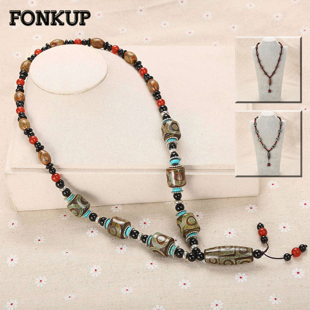 Forkup Dzi Bead Necklace Pendant Women Long Sweater Chain Tibetan Buddhism Jewelry Red Agate Bead Black Gemstone Accessories Bag black agate bead bracelet 17cm