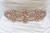 MissRDress Crystal Wedding Belt Handmade Beads Bridal Sash Rose Gold Rhinestones Bridal Belt For Wedding Long Dresses JK877