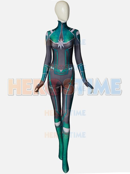 NEW Captain Marvel Cosplay Costume Movie Carol Danvers Green Version 3D Printing Superhero Jumpsuit Women Girls Zentai Bodysuit