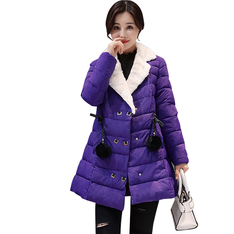 SWENEARO New winter jacket women fashion lapel fur Coat slim Cotton-padded Spring Parkas ladies basic coats Warm Outwear Female swenearo 2017 new women thick warm coat hooded high quality cotton padded winter jacket women ladies coats winter collection