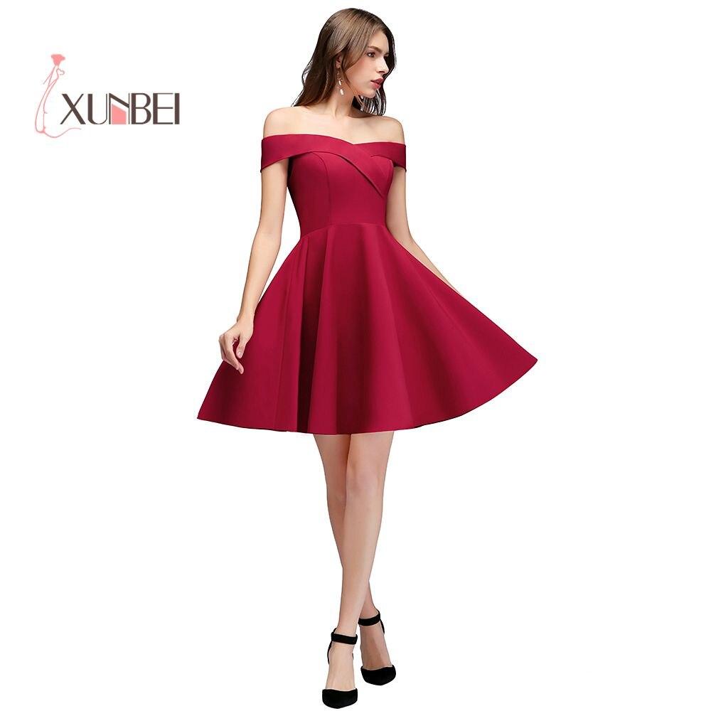 Sexy Off The Shoulder Bugundy   Cocktail     Dresses   2019 Mini   Dress   Graduation   Dress   Short Prom   Dress   Vestidos mujer 2019   Cocktail