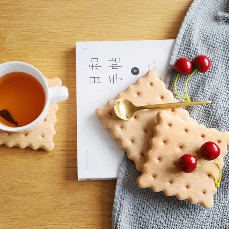 Креативное зеркало с форме печенья бука кофейные подставки для чашек водонепроницаемые твердые деревянный Рабочий стол Нескользящая подставка украшение стола подарки