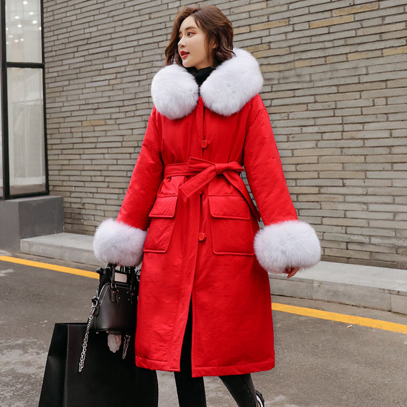 Large Real Natural Fox Fur Collar 2019 Winter Jacket Women   Down   Parkas Long   Coats   Hooded White Duck   Down   Jacket Thick   Down   Parka