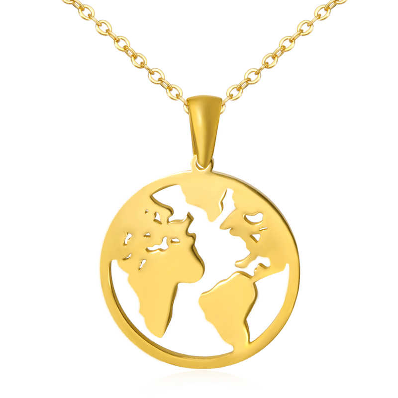 New Fashion Stainless Steel Globe World Map Pendant Necklace For Women Earth Day Best Friend Wanderlust Outdoor Necklace