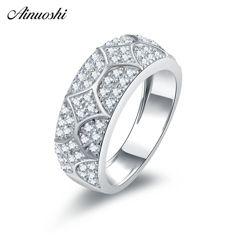 Ainuoshi Classic 925 Sterling Silver Wedding Rings Engagement