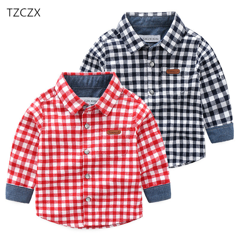 New 2018 Autumn Children Boys Shirts Fashion Plaid Turn-down Collar Full Shirts For 2-10 Years Old Kids Wear Clothes slimming turn down collar plaid short sleeves shirts for men
