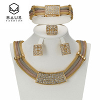 High End Luxury Wedding African Jewellery Set Three Color Fashion Party Bride Imitation Crystal Necklace Earrings