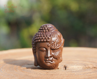 Natural Jujube Wood Carved Buddha Devil Two Face Pendant Tiny Charms Mala Japa Beads Bracelet Jewellry Findings DIY Accessories