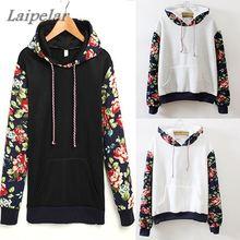 2018 hot sell Retro flowers sleeve color hoodies sweatshirt for women lady streetwear wholesale 3 hooded Folk style