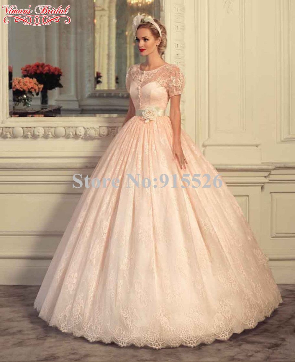 a93cf0efc05 2015 Viman s Bridal Peach Colored Wedding Dresses Appliques Lace  Floor-Length Ball Gown Vestidos With Sashes Free Shipping AX37