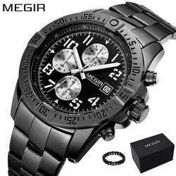 MEGIR Watch Man Unique Black Watches Men's Luxury Brand Sports Quartz Military Stainless Steel Wrist Watch Men relogio masculino