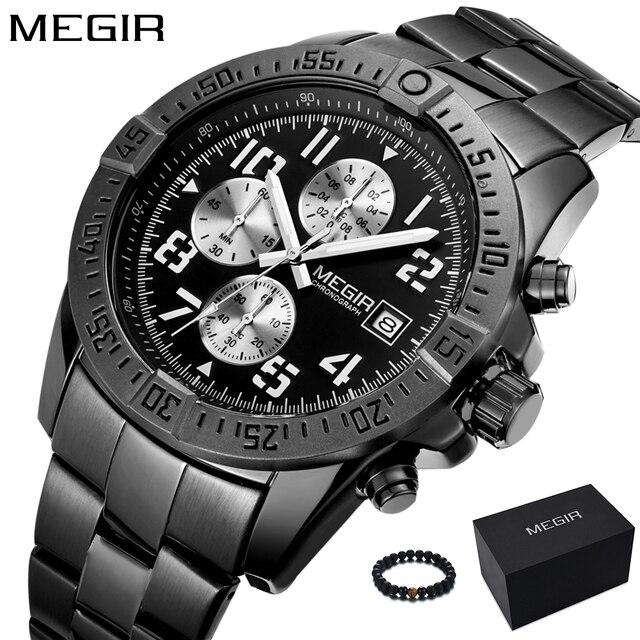 14c1e74b230e MEGIR Watch Man Unique Black Watches Men S Luxury Brand Sports Quartz  Military Stainless Steel Wrist