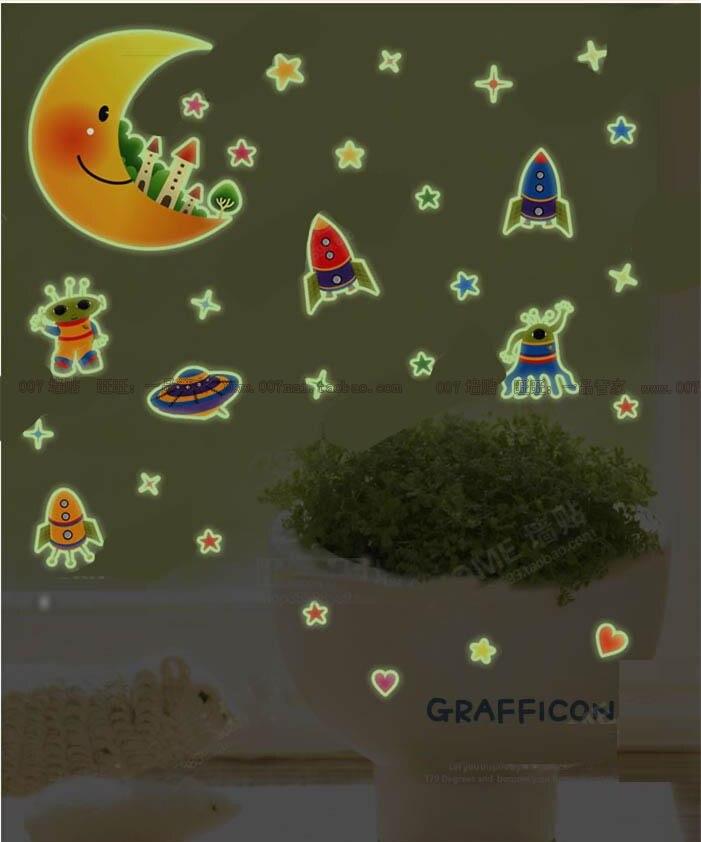 ПВХ 3D световой метеорный поток стены Стикеры флуоресцентный астронавт луны и звезд Светящиеся в темноте светящиеся флуоресцентные Наклейк...