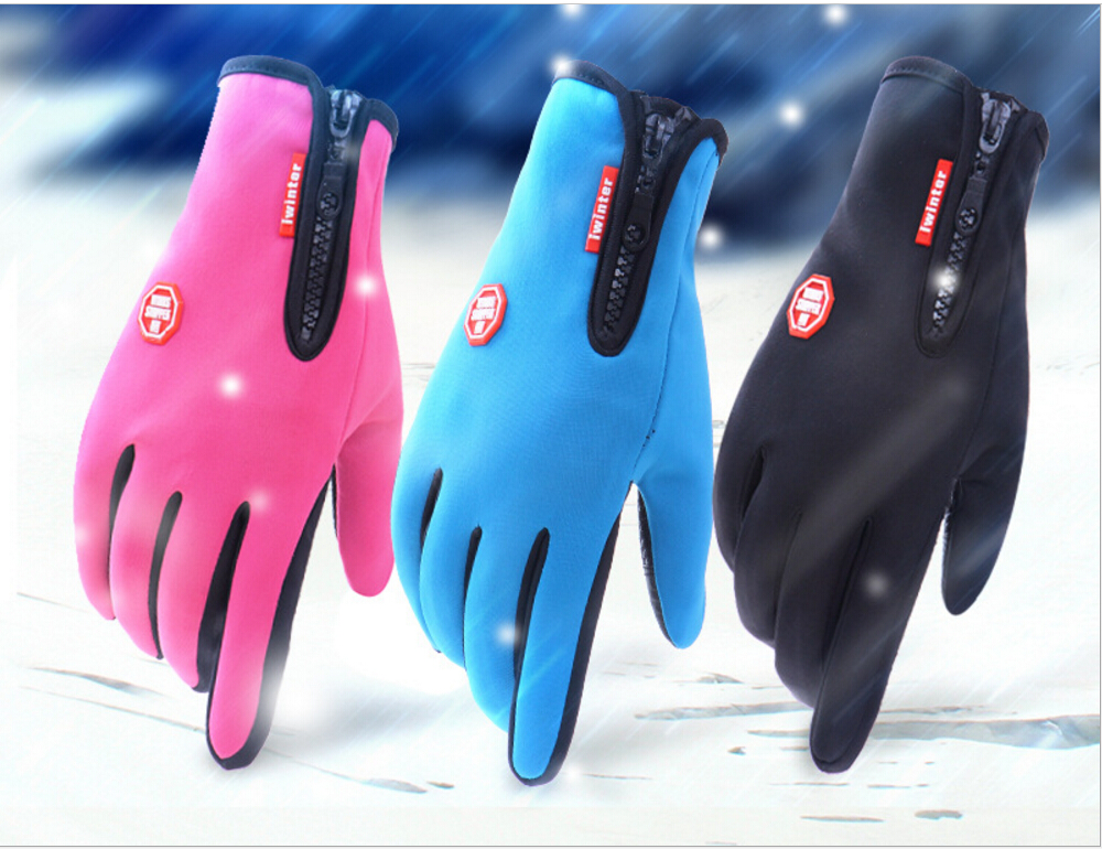 Outdoor Excellent Winter Waterproof Antiskid Luvas Bycicle Glove Cycling Gloves Gant for Cycling Skiing, 2 fingers Touch Screen